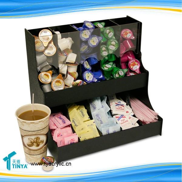 Factory Whole Black Acrylic Disposable Cup Holder Coffee Pod Storage Box Organizer Mug