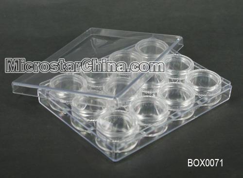 plastique transparent perles conteneurs avec couvercle 12 petite bo tes rondes bo tes caisses. Black Bedroom Furniture Sets. Home Design Ideas