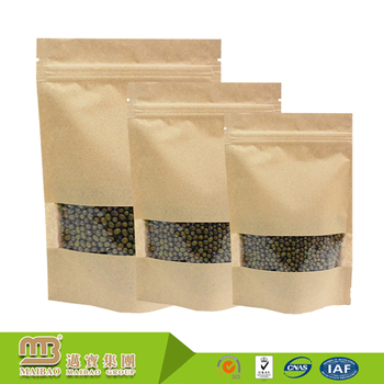 FDA Certificated Brown Customized Ziplock Food Packaging Grains Bean Transparent Paper Bag With Window