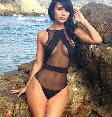 c0b8f73941 Sexy Swimwear Women High Cut One-piece Swimsuit See-Through Mesh Backless  Monokini Plus