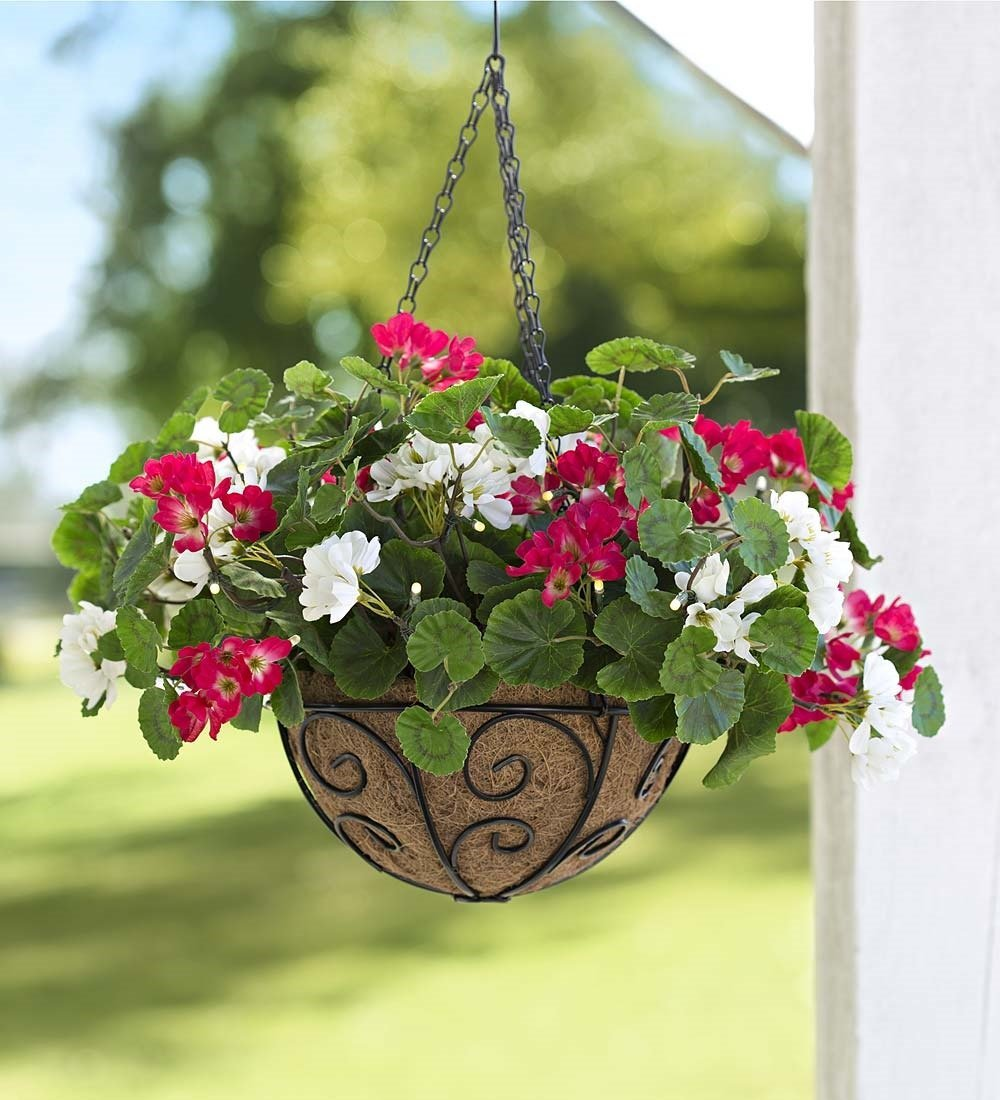 """Plow & Hearth 65A06 Battery Operated LED Lighted Polyester Geranium Flower Outdoor Hanging Basket, 18"""" x 12"""""""