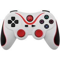 For Ps3 Dualshock White Red Joystick Double Shock Bluetooth ...