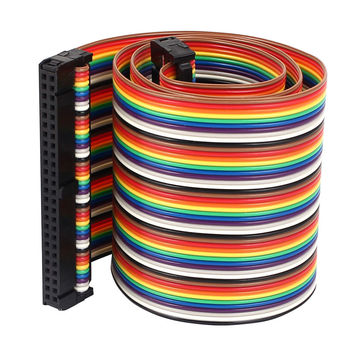 40 Pin Rainbow Color Ribbon Flat Cable with  Female to Female IDC Connector