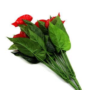 wholesale artificial red anthurium plants green leaves anthurium andraeanum linden for sale