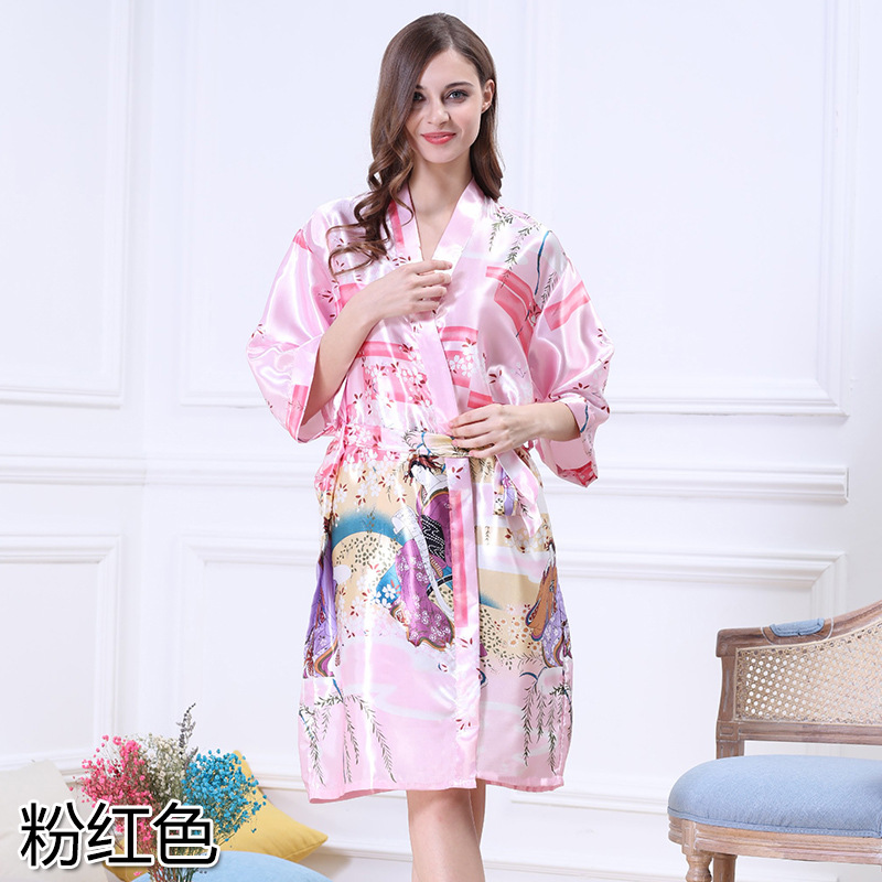 sexy women sleepwear large size nightgowns ladies silk pajamas bath robe Factory drop ship long printed nightgown