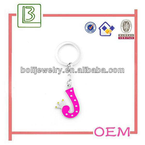 hot sell custom metal j letter keychain