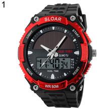 Мужские брендовые роскошные Цифровые часы, мужские спортивные часы с солнечной батареей, водонепроницаемые цифровые часы с двойным времен...(Китай)