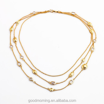 Fashion Brand Hot Trending Designs Gold Jewelry 18K Gold Plated 3 Layers Wrap Clear Crystals Long Chain Necklace N2483