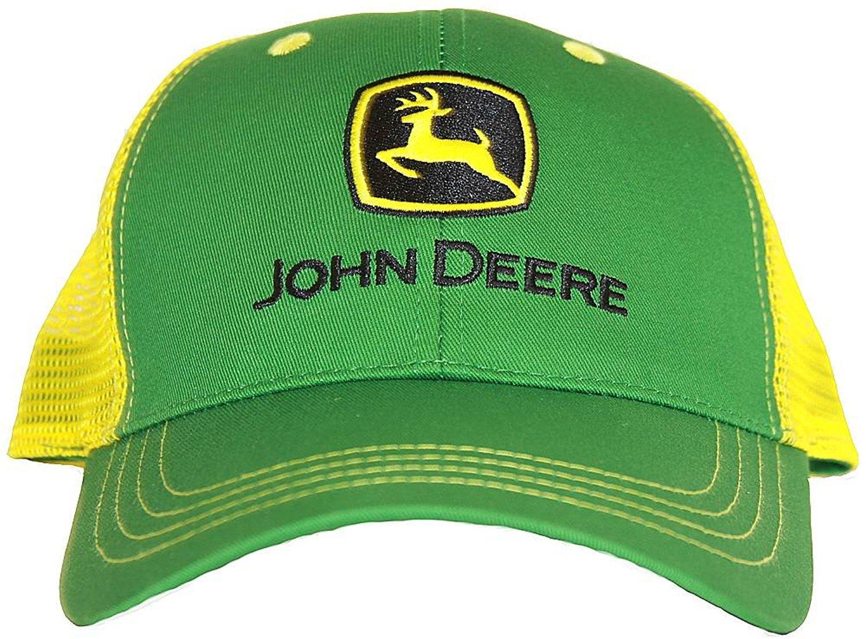 John Deere Adjustable Mesh Trucker Hat Cap (Green/Yellow)