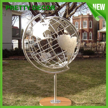 Garden Decor Large Metal Sculptures Hollow Steel Sphere Golbe