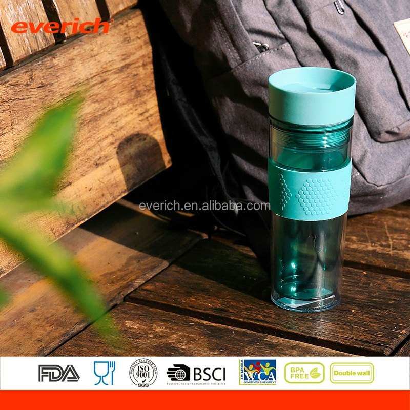 2017 BPA free 350ml500ml double wall AS plastic bottle manufacturers