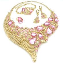 Hot Selling Dubai Gold 24K Jewelry Sets African Ladies Fashion Jewelry Beautiful Artificial Crystal Gemstone