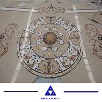 beige brown stone medallion waterjet marble tile for floor stone waterjet