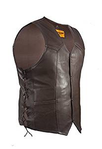 Mens Brown Leather Motorcycle Vest (Size 4XL, 58)
