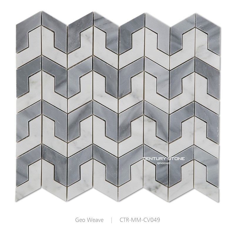 Polished Irregular Shape Wave Pattern Non Slip Kitchen Floor Marble Mosaic Tile
