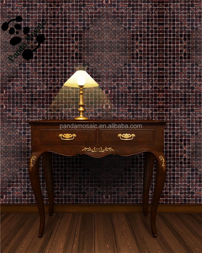 - Gold Line Mosaic Tile Dark Brown Backsplash Kitchen Glass Mosaic