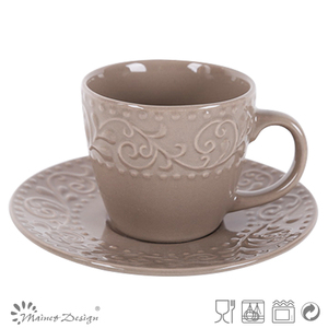2014 Hot Sale Embossed and printing stylish Tea cup and saucer made in China