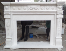 French style indoor casting technique marble stone fireplace