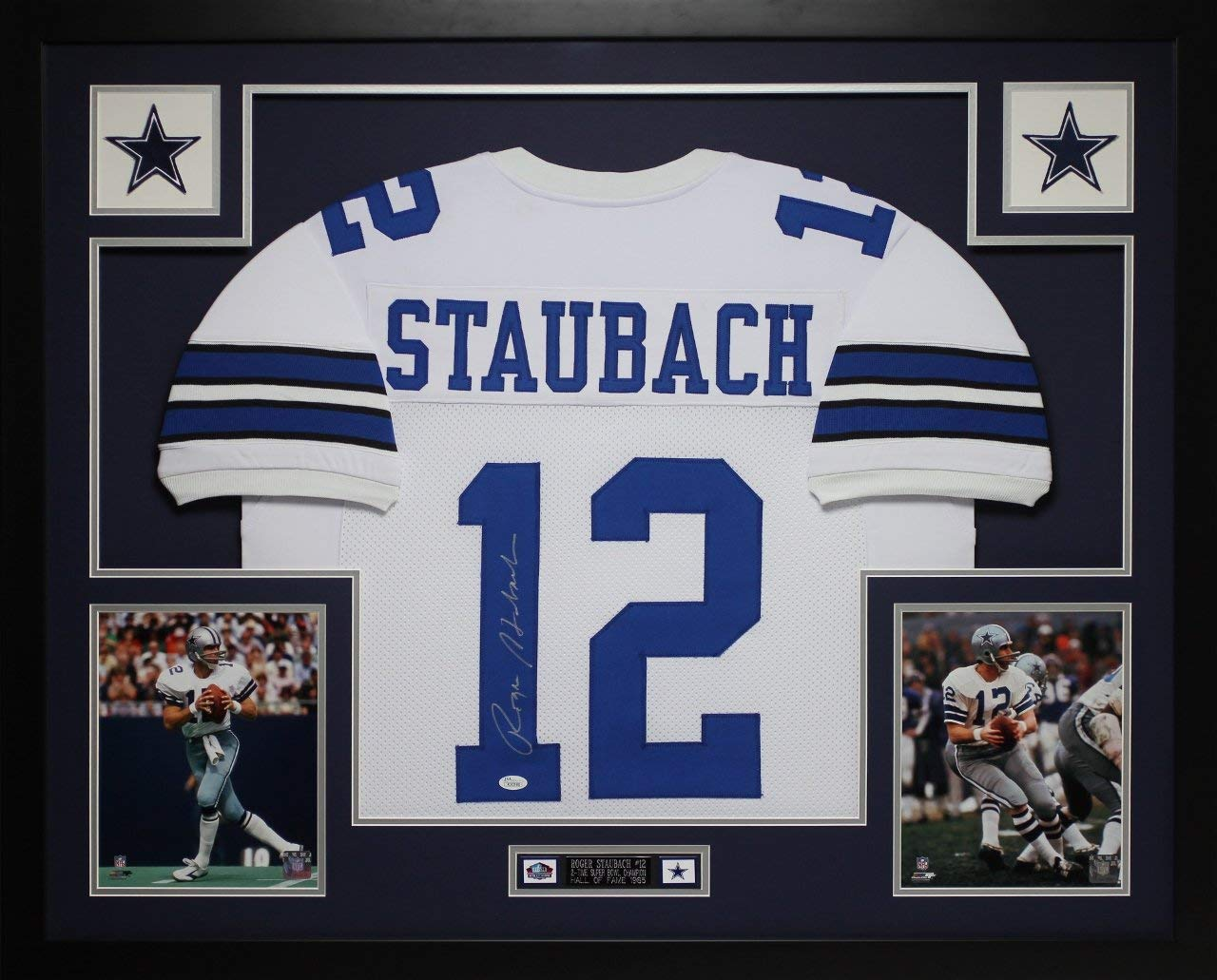 30a9474de Get Quotations · Roger Staubach Autographed White Cowboys Jersey -  Beautifully Matted and Framed - Hand Signed By Roger