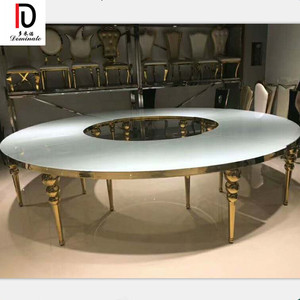 commercial luxury coffee dining room round wedding rose gold stainless steel half moon table