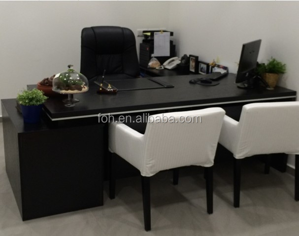 Chinese furniture cool black office desk with white leather sofa visiting chairs(FOH-BA22-D)