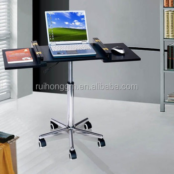 Black Foldable Laptop Desk Rolling Tray Workstation Desktop Computer Table