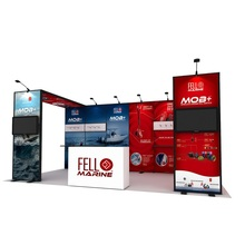 10x20ft แบบพกพา Modular Reusable Exhibition Trade Show Booth ขาตั้งอลูมิเนียม