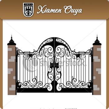 Double Open Gate/Decorative Outdoor Pedestrian Wrought Iron Gates Garden  Gate