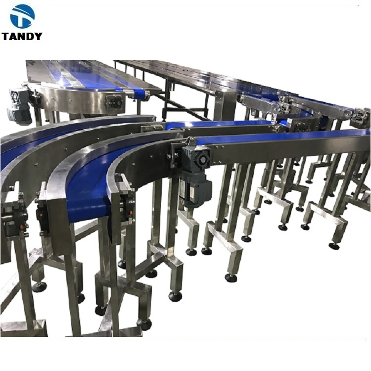food grade 90 degree 180 degree turning belt conveyor for carton ,bags , box ,vegetables ,food ,bread ,coffee ,sugar