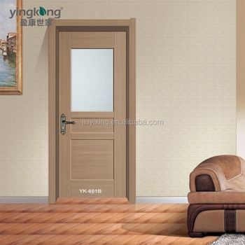 China Market Hot Sell Simple Flush Door With Half Frosted Glass