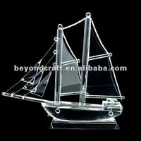 Crystal manufature facotry offer ,crysal sail boat for clients gifts