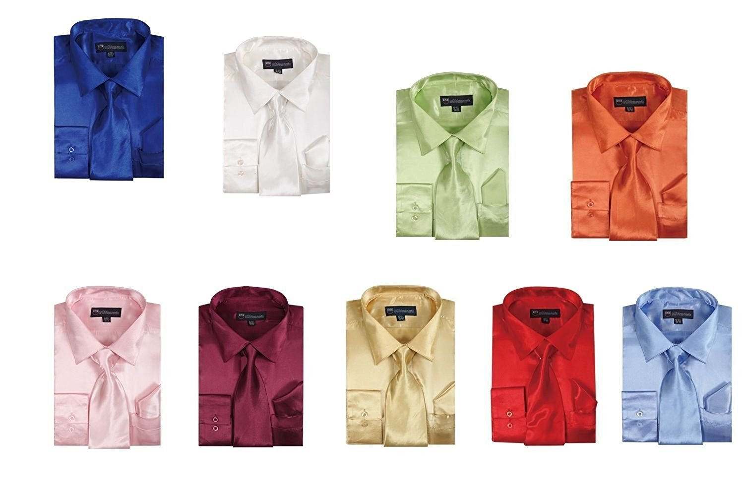 515afeddb Get Quotations · Milano Moda Satin Classic Dress Shirts with Tie & Hankie  SG08 , Purple