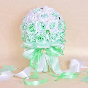 Custom style wedding bouquet bridal reusable handmade ribbon artificial satin flower