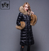 2017 Italian design fashionable pattern goose down jacket women with big fur collar and cuff