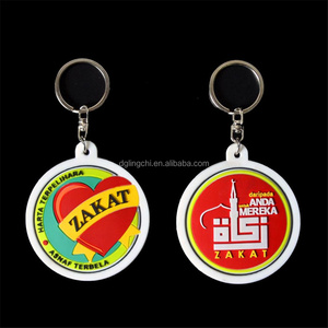 Promotional customized keychain rubber pvc round shaped key chain with branding logo