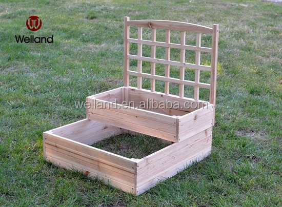 Raised Wooden Planters With Trellis Backyard Greens Planting Buy