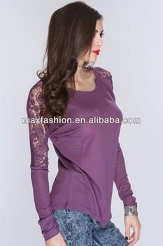 8291dbe5e273 purple top crotchet long sleeve stylish girls blank ruffle sleeve t shirt,  formal shirt for