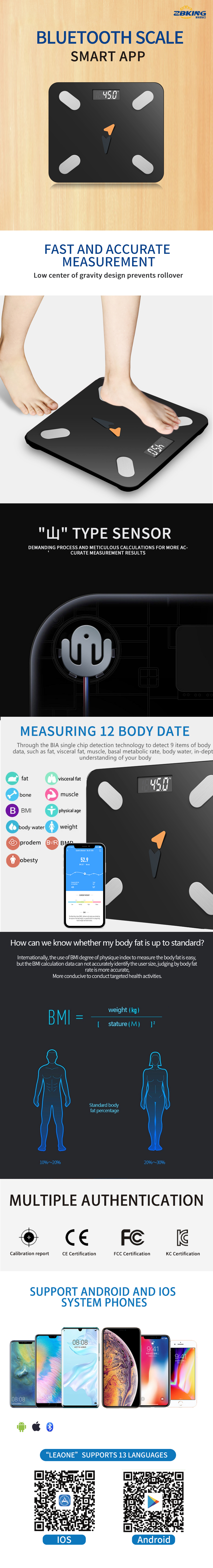 Amazon Best Seller Healthy Weight Loss Tracking App Composition Monitor digital Smart Bathroom Body Fat Scale