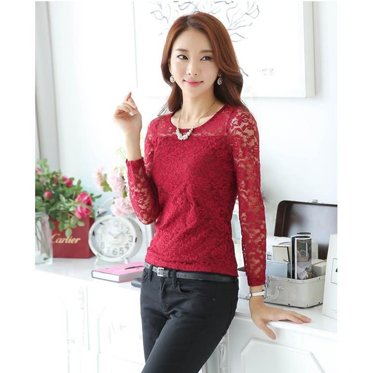 5803410d52f557 2015 Summer Style Women Blouse New Fashion O-Neck Long Sleeve Slim Lace  Camisa Feminina Tops Plus Size Red/Black/White Hot Sale