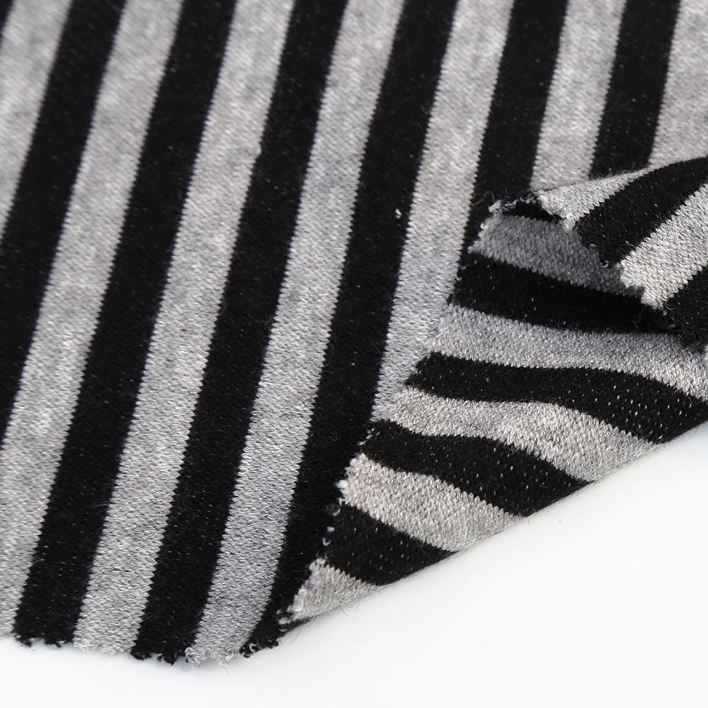 Shaoxing soft interlock knitted cashmere fabric style stripe jersey fabric