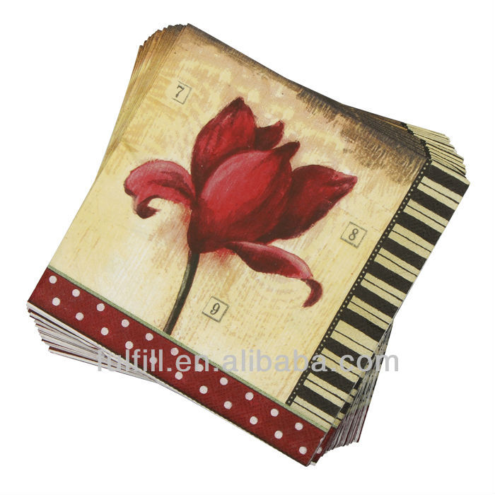 Custom design for different size colorful flower, 1/3 ply printed napkin decoupage paper