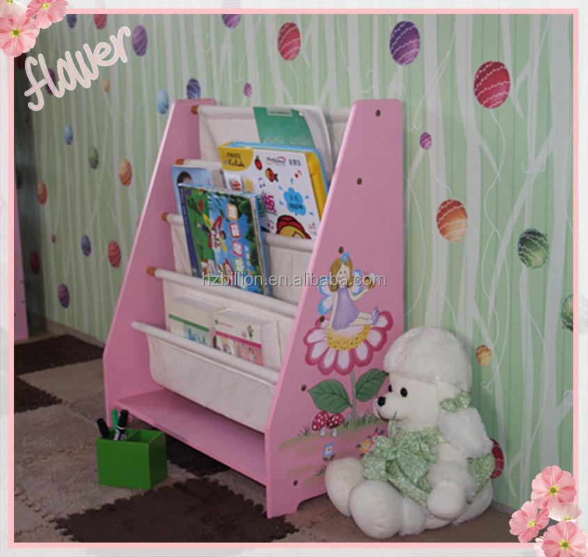 Princess Wooden Kids Canvas Bookshelf Children Furniture School