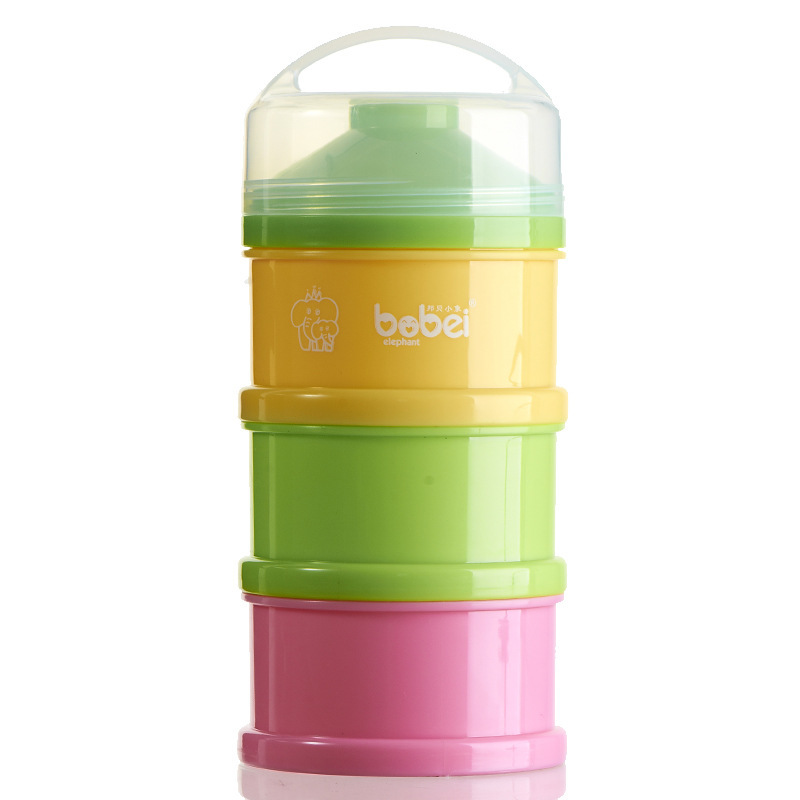 Free Shipping Baby Powder Dispenser Three Portable Snack Storage Box ,80g each layer Baby Food Container