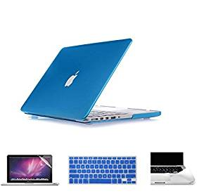 """Applefuns(TM) Hard Shell Case + Keyboard Cover + Screen Protector + Palmguard for Macbook Pro 15.4"""" with CD/DVD Driver(Model A1286)- Metallic Blue"""
