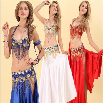 2018 Fashion Women Ladies Egyptian Beaded Tassel Halter Bra  Top,Belt,Skirt,Performance Tribal Sequin Belly Dancer Costume Set - Buy  Belly Dance Bra