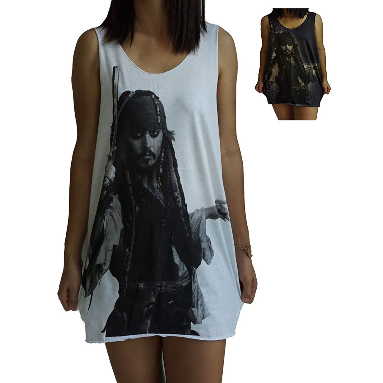 Unisex Jack Sparrow Johnny Depp Vest Tank-Top Singlet Dress Sleeveless T-Shirt