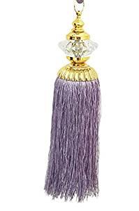 Pair Candy Design Central Beaded Crystal Tassel Large Modern Curtain Tiebacks Purple