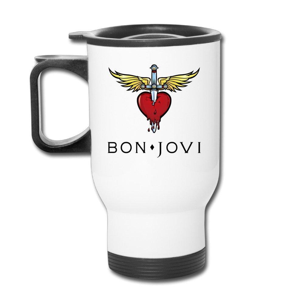 Bon Jovi Jon Bon Jovi David Bryan Tico Torres Handle Insulated Mugs Tumblers Cups Easy-Clean Lid