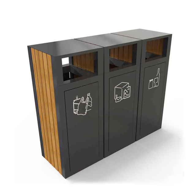 Modular Outdoor Customized 3 Compartment Stainless Steel Recycling Trash Can
