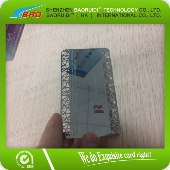 high quality credit card size metal mirror business card